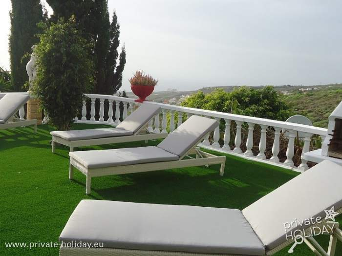 Lawn with deck chairs